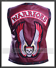 The Warriors Movie Maroon Biker Leather Vest Jacket Halloween Costume