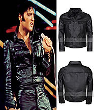 Elvis Presley Rockstar Mens Celebrity Fashion Vintage Black Biker Leather Jacket