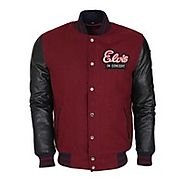 Wish | Vintage Fashion Elvis Presley Varsity Letterman Wool Jacket with Leather Sleeves
