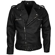 Jeffrey Dean Morgan The Walking Dead Negan Jacket Biker Leather Black Motorcycle Jacket