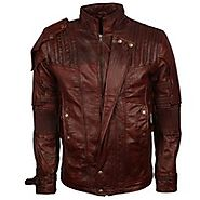 Guardians Of The Galaxy Volume 2 Chris Pratt Star Lord Mens Brown Waxed Leather Jacket Costume