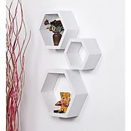 Cheap Home Decor Online: Buy The Abstract Hexagon Shaped Wall Shelve | It's a Set of 3