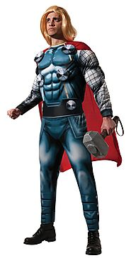 Mens Prince Of Asgard Marvel Superhero Thor Deluxe Adult Costume Halloween Party