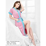 Women's Solid Turkish Cotton Patti Bathrobe