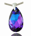 Mystic Violet Blue Purple Lavender Color 22mm Crystal Stone Drop Oval Teardrop Shape Statement Pendant Necklace made ...