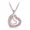 Valentine's Day Gifts - Swarovski Austrian Crystal Elements Golden Heart Pendant Necklace - 18 Inch Chain 18k Platinu...