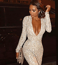 Buy Luxury Silver Sequin Jumpsuit from Slaylebrity