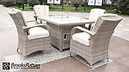Champagne Tokyo 4 Seat Gas Fire Pit Dining Set