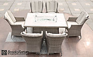 Champagne Royal 6 Seat Gas Fire Pit Dining Set