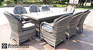 Serena Regal 8 Seat Gas Fire Pit Dining Set