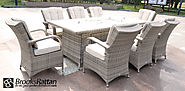 Champagne Tokyo 8 Seat Gas Fire Pit and Drink Cooler Dining Set