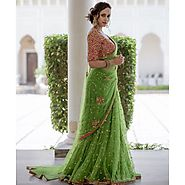 Bollywood Designer Opulent Green Net Fabric Machine Work Embroidered S – Mahi Fashion