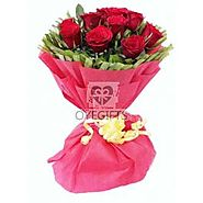Bunch of 20 Red Roses in Red Paper Packing.