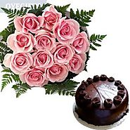 Buy/Send Pink Roses With Chocolate Cake Online Same Day Delivery - OyeGifts.com