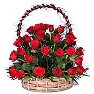 Buy/Send Amazing Red Basket Arrangment Online Same Day Delivery - OyeGifts.com