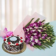 Buy Exotic Orchids n Cake Online Same Day Delivery - OyeGifts.com