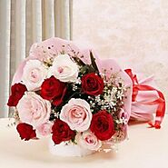 Buy Glamorous Red and Pink Roses Bouquet Online - OyeGifts.com