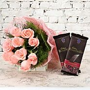 You are Perfect : 10 Pink Roses Jute Packing and 2 Bournville Chocolate
