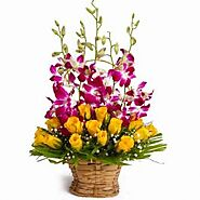 Send Basket of Yellow Roses with Purple Orchids Same Day Delivery - OyeGifts
