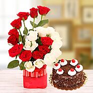 Buy Majestic Vase n Cake Midnight Gifts Delivery Online - OyeGifts
