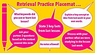 "Kate Jones on Twitter: ""Retrieval Practice placemat - great for verbal discussions between students. What verbal stra..."