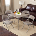 Amazon.com - Meco Sudden Comfort Deluxe Double Padded Chair and Back - 5 Piece Card Table Set - Chickory Beige