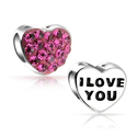 Valentines Day Gifts Bling Jewelry Pink Crystal Love You Heart Bead Fits Pandora