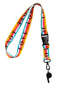 Love Key Lanyard with Whistle