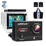 Campark ACT74 Action Camera 16MP 4K WiFi Waterproof Sports Cam 170 Degree Ultra Wide-Angle Len with 2 Pcs Rechargeabl...