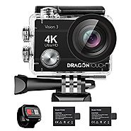 Dragon Touch 4K Action Camera 16MP Sony Sensor Vision 3 Underwater Waterproof Camera 170° Wide Angle WiFi Sports Cam ...