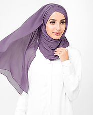 Grape Compote Poly Chiffon Scarf - India | Islamic Design House