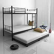 Flou Twin Size Trundle Bed with Castor Wheels