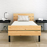Benne Twin Size Metal Bed with Solid Wood Foot / Head Rest (Black / Natural Pine)