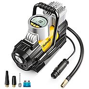 AstroAI Air Compressor Pump, 150 PSI 12V Electric Portable Digital Tire Inflator with Extra Nozzle Adaptors and Fuse ...