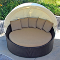 Wink Wicker Outdoor Daybed with Canopy and Sunbrella Heather Beige (5476-0000) Cushions