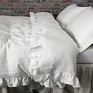 Ruffled Pure Flax Linen Duvet Cover | Shabby chic Bedding - linenshed – Linenshed
