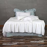 Superior Flax Linen Duvet Cover with Mermaid Long Ruffle Style - Linenshed