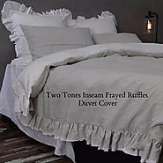 Two Tones Ruffle Duvet Cover - Linenshed