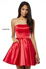 Sherri Hill A Line Short Satin Party Dresses 2018 Style 52397 Red Strapless [Red Sherri Hill 52397] - $180.00 : Cheap...