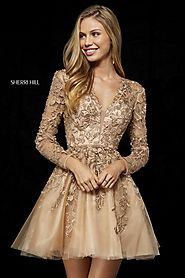 Long Sleeves Applique Style 52343 Short Tulle Party Dresses 2018 Sherri Hill Gold [Gold Sherri Hill 52343] - $250.00 ...