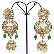 Indian Bollywood Fashion Style Traditional Indian Wedding Style Mehndi Plated Earings - RunwayFashions