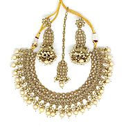 Bollywood Fashion Style Traditional Indian Jewellery Wedding Style Mehndi Plated Necklace Set With Earing and Tikka -...