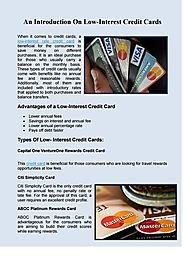 An Introduction On Low-Interest Credit Cards
