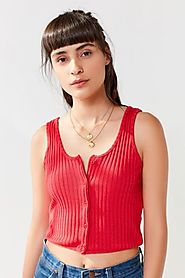 UO Button-Down Cropped Tank Top