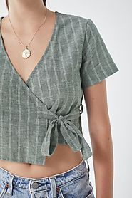UO Striped Wrap Cropped Top