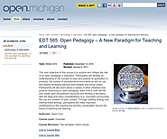 Open Pedagogy: A New Paradigm for Teaching and Learning | OER Commons