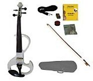 Merano MVE20WT-A 4/4 Full Size Ebony Electric Silent Violin with Case and Bow, White