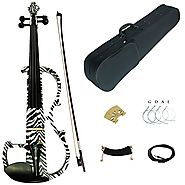 Kinglos 4/4 Black White Zebra Colored Solid Wood Advanced Electric / Silent Violin Kit with Ebony Fittings Full Size ...