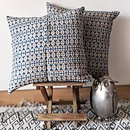 White & Blue Abstract Cotton Hand Loom Cushion Cover - Shop Now! – House of Ekam