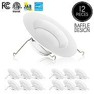 Parmida (12 Pack) 5/6 inch Dimmable LED Downlight, 12W (100W Replacement), Baffle Design, Retrofit LED Recessed Light...